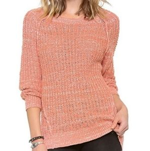 Free People Coral Star Dune Cable Knit Sweater Size Small